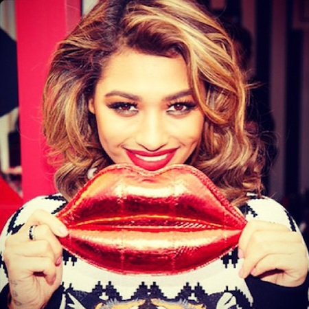 Vanessa White from the saturdays - instagram - Lulu Guinness lips clutch - NYFW FW14 - Lulu Guinness handbag gallery - handbag.com