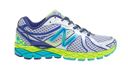 trainer testing - new balance 870v3 - blue and green - fun fluro trainers - handbag.com