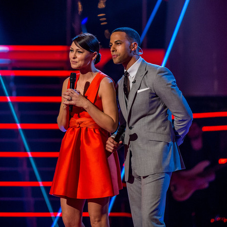 Emma Willis and Marvin Humes - the voice uk - semi finals - red topshop dress - handbag.com