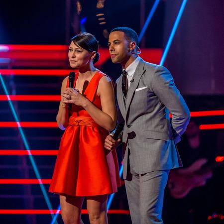 Emma Willis and Marvin Humes - the voice uk - semi finals - red topshop dress - handbag.com