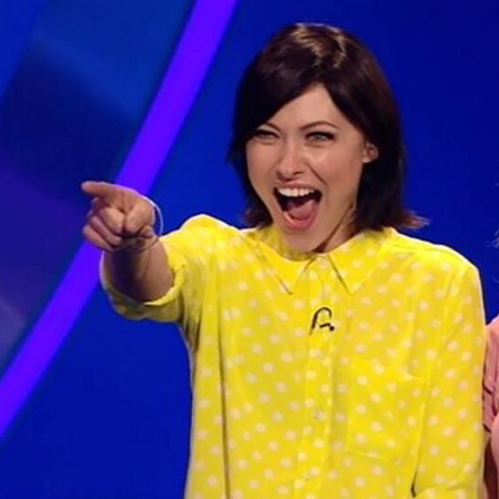 emma willis yellow shirt on catchphrase - yellow short with white spots from topshop - emma willis fashion style - handbag.com