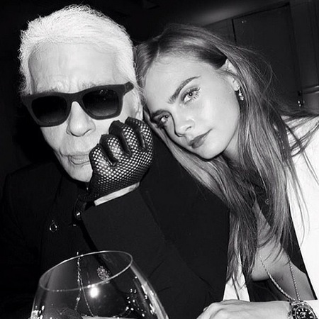 karl lagerfeld and cara delevingne - karl on selfies and tattoos - designers and model muses - handbag.com