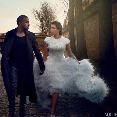 kim kardashian and kanye west vogue magazine - fluffy wedding dress - handbag.com