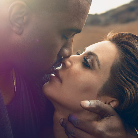kim kardashian and kanye west vogue shoot - kim and kanye kissing - kim kardashian eyes - handbag.com