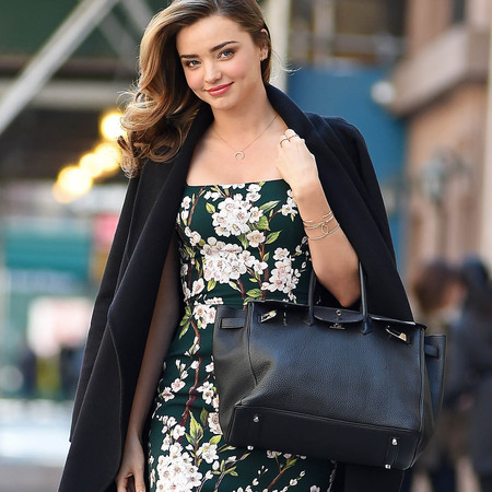 miranda kerr hermes birkin bag - dolce gabbana floral dress - escada coat draped on shoulders - celebrity floral trend - handbag.com