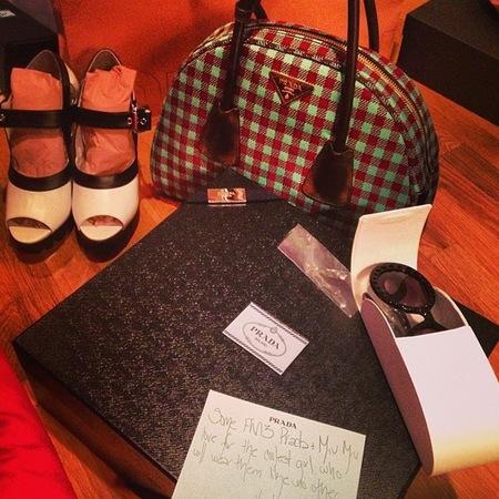 Prada tartan check handbag