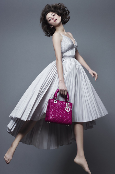 marion cotillard - lady dior handbag campaign - spring summer 2014 - hot pink bag - handbag.com