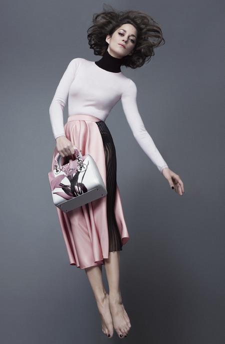 marion cotillard - lady dior handbag campaign - spring summer 2014 - pink skirt - handbag.com