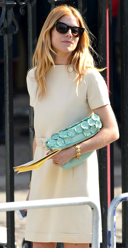 Sienna Miller at Sir David Frost Memorial - burberry floral turquoise clutch handbag - shopping bag - handbag.com