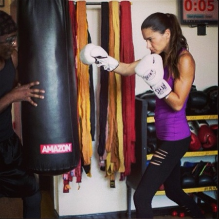 Adriana Lima - workout boxing class - celebrity workout gear - gallery - gym bag - handbag.com
