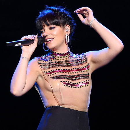Lily Allen's daring sheer jewelled top