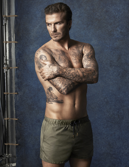 david beckham hm swimwear - green swim shorts - beckham topless - handbag.com