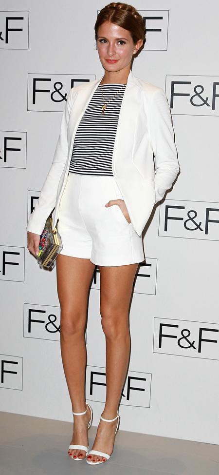 millie mackintosh style diary - white shorts suit an naurical trend - high street style - handbag.com