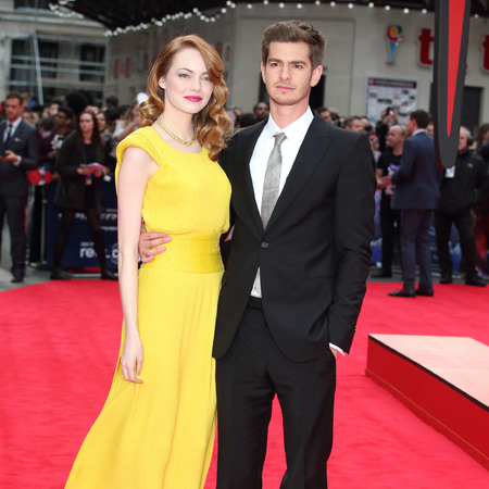 Emma Stone and Andrew Garfield - the amazign spiderman london premiere - yellow dress - red hair - handbag.com