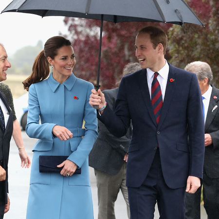 Kate Middleton and Prince William - war memorial new zealand tour - alexander mcqueen blue coat - blue heels - pony tail - handbag.com