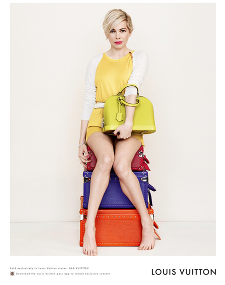 Michelle Williams for Louis Vuitton handbag campaign - yellow bag - bright coloured handbag - new designer bag - celebrity handbags - handbag.com