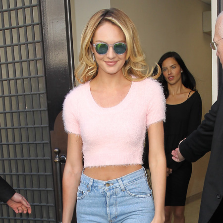 Candice Swanepoel - victoria secret - london conference - jeans and crop top - 90s fashion - handbag.com