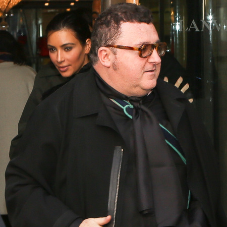 kim kardashian with lanvin designer alber elbaz - wedding dress - kanye west marriage - handbag.com