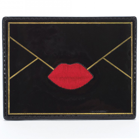 lulu guinness lips - card holder - black card holder - travel accessories - handbag.com
