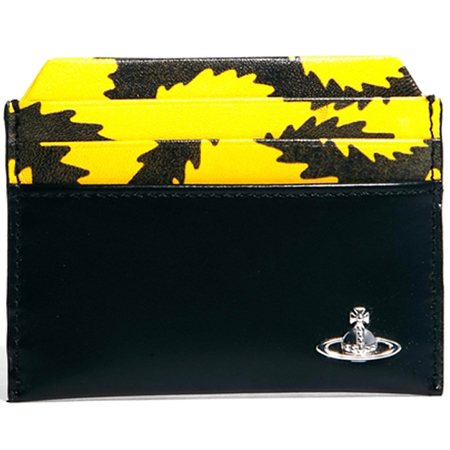 vivienne westwood squiggle - card holder - yellow and black - travel accessories - handbag.com