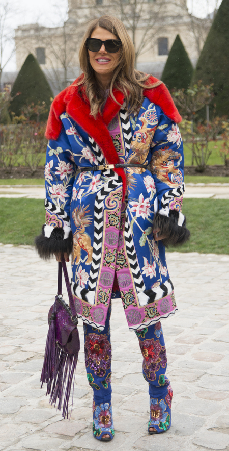 Anna Dello Russo with her purple Gucci nouveau fringing bag
