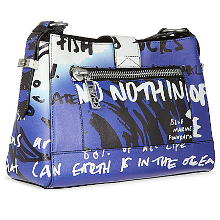 kenzo no fish charity handbag - kalifornia satchel - printed bag - ethical eco fashion - blue designer handbag - handbag.com