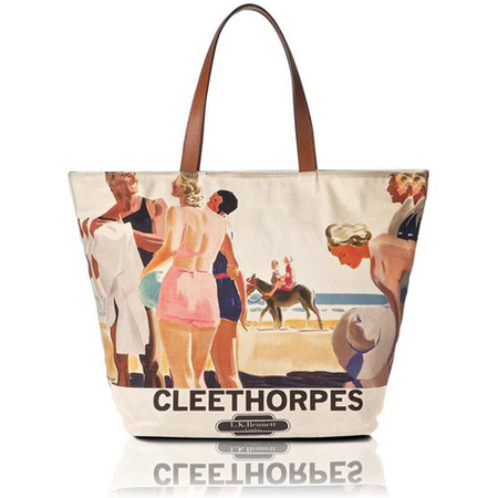 beach bag - lk bennett - Cleethorpes Canvas Tote - retro bathing suit - print - summer holiday bag - handbag.com