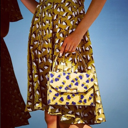 gucci - heart print - handbag - maching dress and bag - yellow - handbag trends - spring summer 2014 - handbag.com