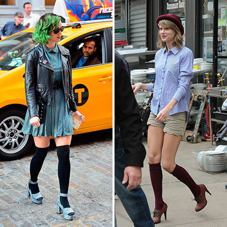 katy perry and taylor swoft knee high socks - shopping bag - handbag