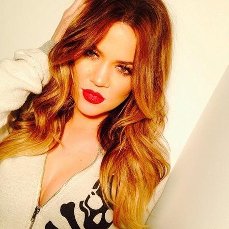 khloe kardashian - hair - blonde - ombre - summer hair - hairsty ideas - red lipstick - handbag.com