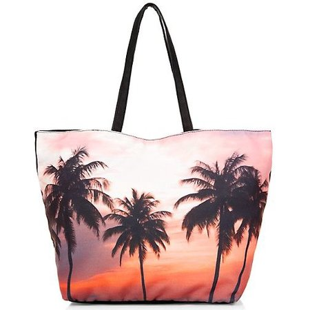 NEW LOOK SUNSET PALM TREE PRINT BEACH BAG - THE BEST HOLIDAY BEACH ...