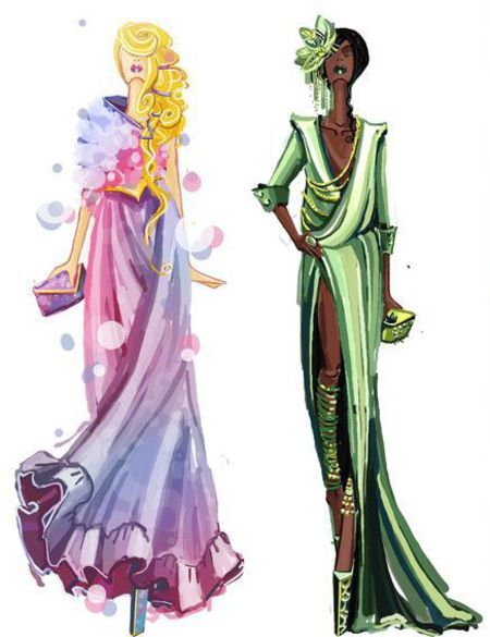 rapunzel and tiana holding designer handbags - Disney princesses with designer handbags - illustrations of disney princesses wearing high fashion - shopping bag - handbag
