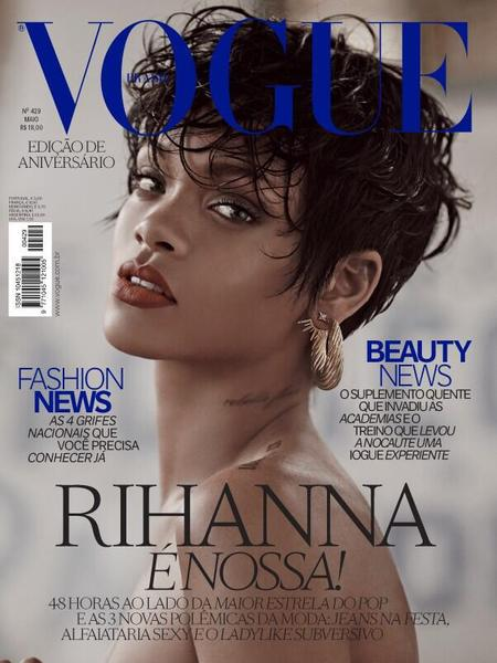 rihanna-vogue-brazil-cover-subscribers issue-2014-red lipstick-short hair - handbag.com