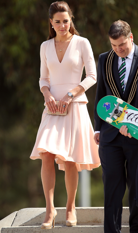 kate middleton - pink skirt - alexander mcqueen - long sleeve top - royal tour of australia - nude trend - handbag.com