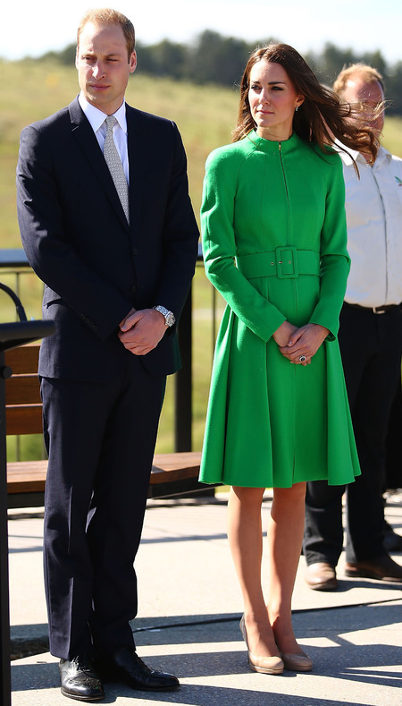 kate middleton - royal tour of australia and new zealand 2014 - green coat - catherine walker - style - fashion - royal designer - what kate wore today - handbag.com