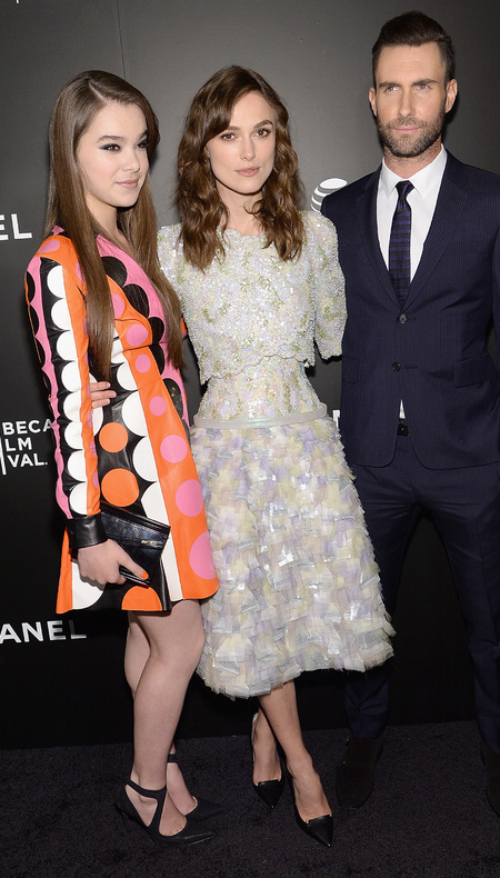 keira knightley - hailee steinfeld - adam levine - chanel dress - corset waist - begin again film premiere - tribeca film festival 2014 - handbag.com
