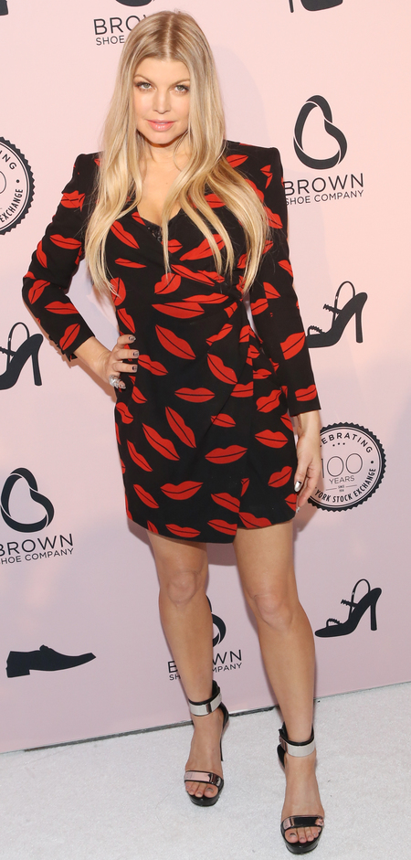 Fergie wears lips wrap dress - wrap dress trend - kate middleton - dresses - shopping and celebrity news - handbag.com