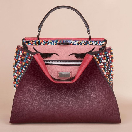 Celebrities customise fendi peekaboo bags for auction - adele burgundy embellished fendi peekaboo bag - shoppiung bag - handbag