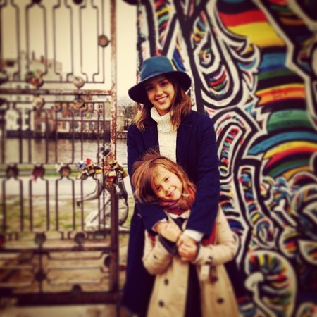 Jessica Alba posing with daughter honor  in Berlin - rachel zoe and jessica alba's children are cooler than their mums - baby bag - handbag