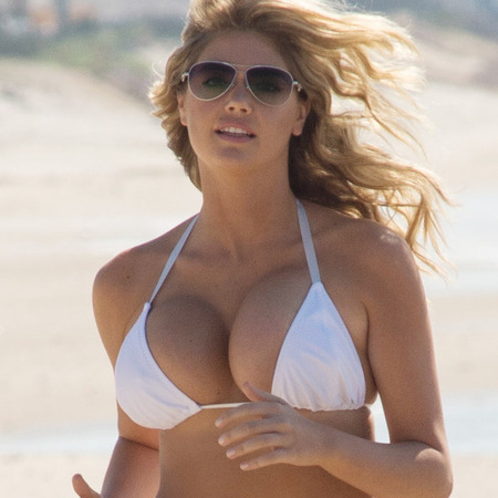 kate upton bikini body secrets - kate upton running in a bikini on the beach - gym bag - handbag