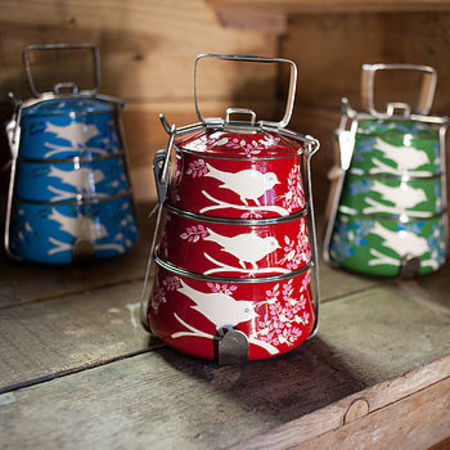 Not on the high street enamel hand painted tiffin tin - totally rad lunch boxes - handbag