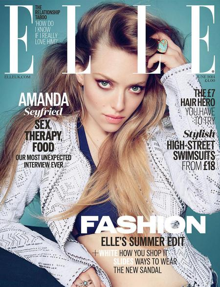 amanda seyfried-elle uk cover-long hair-big hair-cardigan-crop top-blonde-celebrity front cover shoots - handbag.com