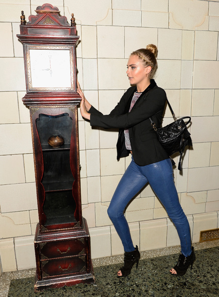cara delevingne-mulberry backpack-jeans-leather jacket-braid hairstyle-bun hair up-grandfather clock-timless Sky Arts' Playhouse Presents Season-handbag.com