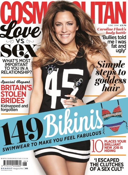 caroline flack - cosmopolitan UK_interview - cover - guide to life - body confidence - relationships - negative comments - gym bag - handbag.com