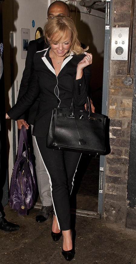 emma bunton-hermes birkin bag-victoria beckham 40th birthday party-celebrity designer handbags-classic handbags - handbag.com