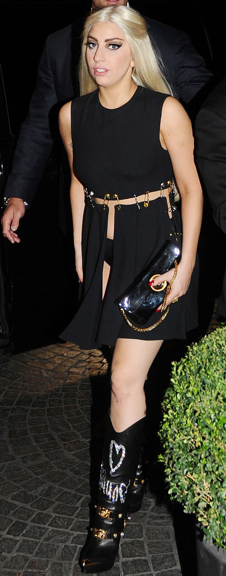 lady gaga-safety pin dress-versace-lbd-sexy celebrity black dress-gaga revealing outfitslong blonde hair-handbag.com