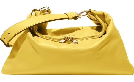 Miu Miu's new cloud bag - new designer handbag - yellow handbag for summer  - handbag news - shopping bag - handbag.com