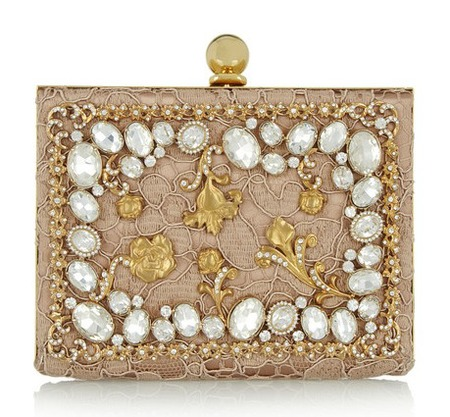 D&G ava crystal-embellished sating and lace box clutch - best designer wedding clutch bags - shopping bag - handbag