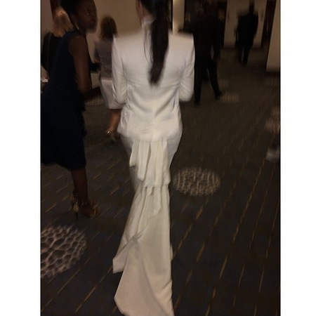 kim kardashian-wedding dress-kanye west-lanvin-balmain-alexander mcqueen-back of white skirt with train-white shirt-white blazer-armenian charity gala-handbag.com
