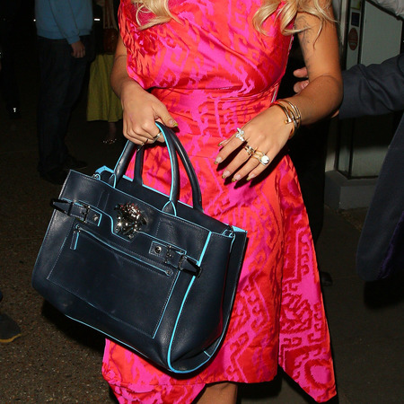 rita ora-pink dress-vivienne westwood-blue handbag-versace-palazzo bag-blonde hair-yellow shoes-red lipstick-celebrity-fashion-trends-handbag.com